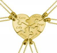 Gold Plated 6 Pieces Puzzle Engraved Necklace For  a Heart