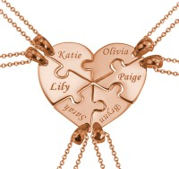 Rose Gold Plated 6 Pieces Puzzle Heart Engraved Necklace For the Family