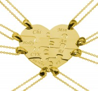 8 Pieces Puzzle Engraved Heart Necklace for Friends and Family in Gold Plated