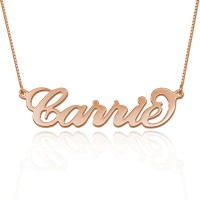 Carrie Style Name  Necklace in Rose Gold plated