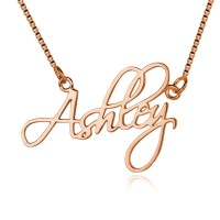 Script Name Necklace in Rose Gold Plating