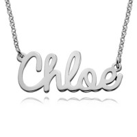 Silver Personalized Cursive Name Necklace