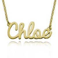 Gold Plated Personalized Cursive Name Necklace
