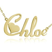 Personalized Heart Name Necklace In Gold