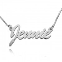 Personalized Brush Script Name Necklace In Silver