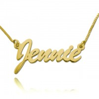 18K Gold Brush Script Nameplate Necklace