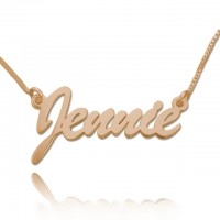 Rose Gold Custom Brush Script Name Necklace