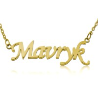Personalized Monotype Script Name Necklace in Gold