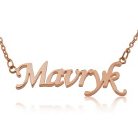 Rose Gold Monotype Script Nameplate Necklace