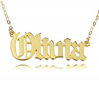 Old English Style Name Necklace in Gold Plated