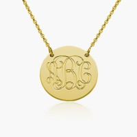 Personalized Monogram Disc Necklace In Gold