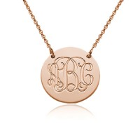 Circle Monogram Disc Necklace In Rose Gold