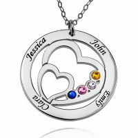 Personalized Heart Necklace With Birthstone For Moms