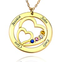 Heart in Heart 18K Gold Plated Engraved Necklace With Birthstone