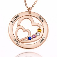 Heart in Heart Family Engraved Necklace With Birthstone in Rose Gold