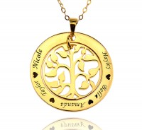 Gold Plated Family Tree Necklace With Any Name Engraved