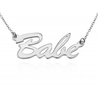 Personalized Brush Script Name Necklace in Sterling Silver