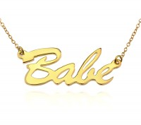 18K Gold Brush Script Name Necklace