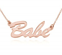 Personalized Brush Script Name Necklace in Rose Gold