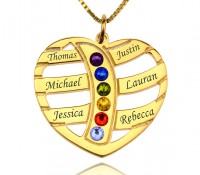 Engraved Mom Heart Necklace with Birthstones in 18K Gold Plating