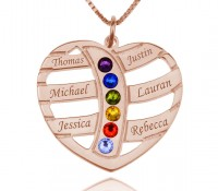 Rose Gold Name and Birthstone Mother Necklace