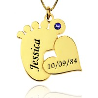 18K Gold Plated Baby Feet Name Necklace With Heart