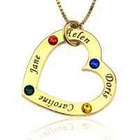 Engraved Birthstone Heart Necklace in Gold Plated