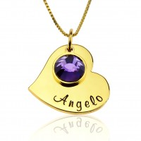 Gold Plated Personalized Heart Necklace With Birthstone Charm
