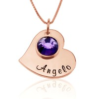 Personalized Heart Necklace With Birthstone Charm In Rose Gold Plated