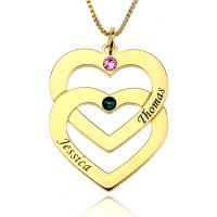 Birthstones Engraved Double Heart Necklace in Gold Plated