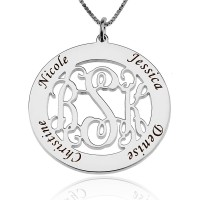 Circle Family Monogram Necklace With Names