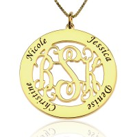 Monogram Circle Necklace With Names In Gold