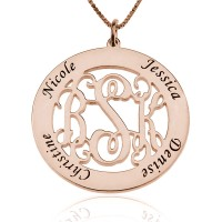Rose Gold Circle Monogram Necklace With Any Name
