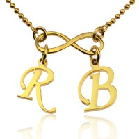 Personalized Infinity Necklace With  Initials In Gold Plated