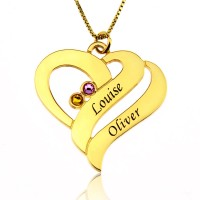 Gold Plated Two Hearts Forever One Necklace with Birthstones