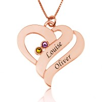 Two Hearts Forever One Necklace with Birthstones in Rose Gold