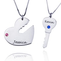 Heart And Key Pendant Necklace with Birthstones