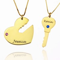 Key to My Heart Necklace with Birthstones in Gold Plated