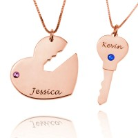 Rose Gold Key to My Heart  His and Her Necklaces with Birthstones