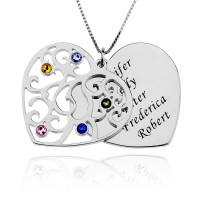 Heart Necklace With Birthstone With Any Words Engraved in Silver