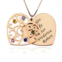 Rose Gold Heart Necklace With Birthstone With Any Words Engraved
