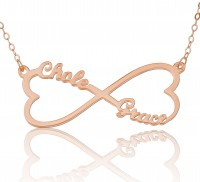 Rose Gold Customized Infinity Heart  Pendant Necklace
