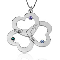 Personalized Three Heart Shamrocks Necklace with Birthstones