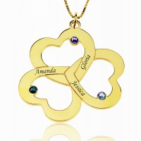 18k Gold Plated Triple Heart Necklace with Birthstones