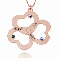 Rose Gold Triple Heart Necklace with Birthstones