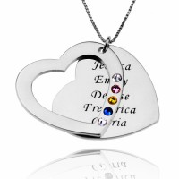 Family Heart Necklace With Birthstone With Any Names Engraved