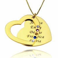 Engraved Mom Heart Necklace with Birthstones IN Gold Plated