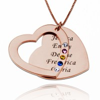 Engraved Family Name Heart Necklace with Birthstones