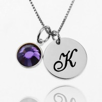 Custom Necklace With Initial Charm And Birthstone In Sterling Silver