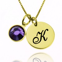 Personalized Gold Necklace With Initial Charm And Birthstone